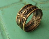 Vintage Brass Ring - Floral Deco - Size 6.5 - READY TO SHIP