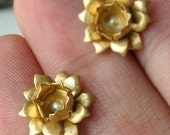 Vintage Brass Lotus Earrings with Sterling Silver - Posts - Made to Order