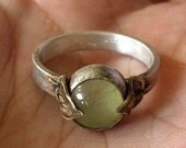 Mithril Ring - Green - 8mm Round Prehnite Antique Brass Leaves and Sterling Silver - Made to Order
