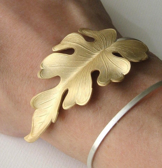 Fiddle Leaf Wrist Wrap Cuff - Vintage Brass and Sterling - Limited Edition - Made to Order