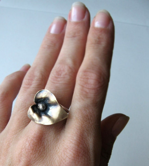 Anthurium Ring - Vintage Brass and Sterling Silver - Made to Order