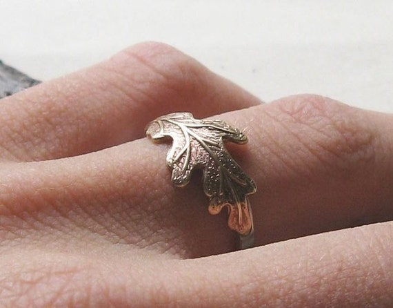 Oak Leaf Ring - Brass and Sterling Silver  - Made to Order