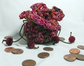 Crocheted Drawstring Coin Purse - Multi Pinks