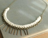 crochet rope necklace with metal fringe in beige choker  for spring fashion