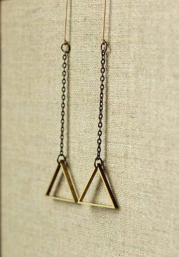 triangle earrings geometric jewelry in arrow design on a long chain