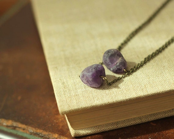 SALE amethyst statement necklace with two plum stones and layered chains
