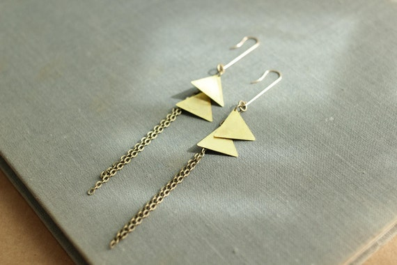 brass triangle earrings with metal fringe minimalist jewelry in geometric arrows