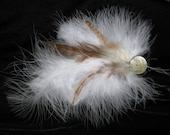 Feather Hair Fascinator w Engraved Shell Button