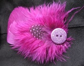 Feather Hair Fascinator - Magenta w Glitter Button