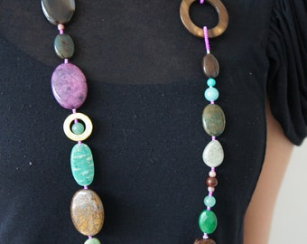 EDEN beaded handmade necklace made with semi-precious stones, shells and all sterling silver parts