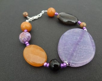 SUN DOWN beaded handmade bracelet made with semi-precious stones, shells and all sterling silver parts