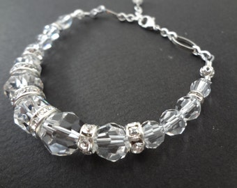 CLARITY handmade beaded bracelet made with swarovski crystals and all sterling silver parts