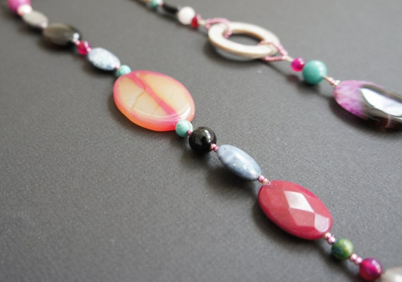 ON THE EDGE beaded handmade necklace made with semi-precious stones, shells and all sterling silver parts