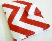 Kindle 4 Cover, Kobo Touch Cover - White and Red Zig Zags