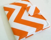iPad, Kindle, Nook, Kobo Cover - Tangerine Orange and White Zig Zags - Made to Order