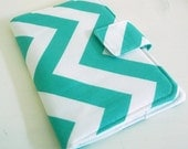 Kindle Touch Cover, Kobo Cover - White and Teal Zig Zags Chevrons
