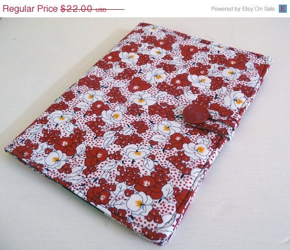 SALE iPad Cover in Red and White Tropical Floral