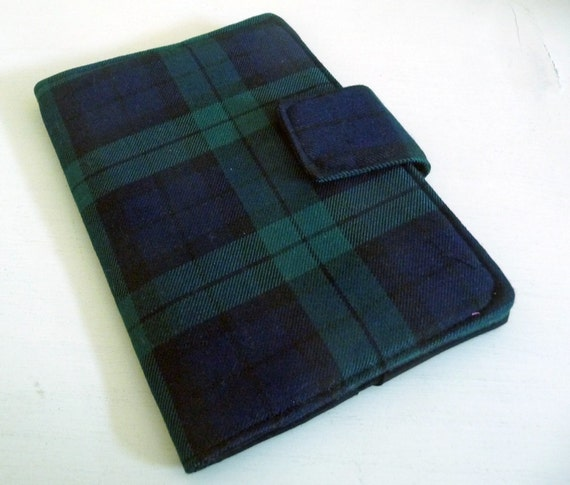 Made to Order - Cover for Nook, Kindle or Kobo - Dark Blue and Green Plaid