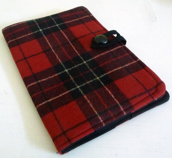 Made to Order - Red Black Tartan Wool - Kindle, Nook, Kobo, iPad Cover