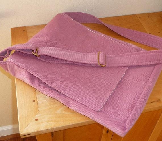 Pink Corduroy Messenger Bag with Adjustable Strap - sale