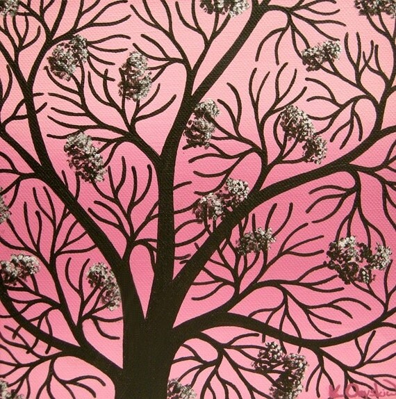 Silhouetted Pink Cherry Blossom Tree Painting