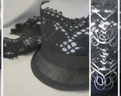 TILT TOPPER - GOTHIC - Grey Gray and Black Lace Sinamay Mini Top Hat