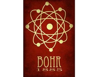 24x36 Bohr Science Art Print - Atomic Structure, Nucleus Diagram, Steampunk Rock Star Scientist Poster, Scientific Geek Chic Decor