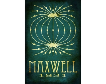 24x36 James Maxwell Science Art Steampunk Rock Star Scientist Poster Print Electromagnetic Theory Physics Math Physicist Geek Chic Nerd Art
