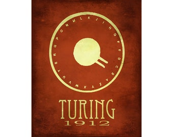 16x20 Science Art Poster Alan Turing Code Breaker Machine Steampunk Rock Star Scientist Poster Fine Art Computer Geek Print Cypher WW II