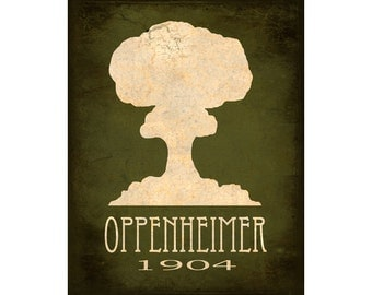 16x20 Science Art Print Oppenheimer Atomic Bomb Mushroom Cloud Explosion Steampunk Rock Star Scientist Geek Nerd Decor Scientific Poster