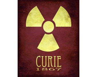 16x20 Science Art Marie Curie Rock Star Scientist Steampunk Print Radioactive Radiation Radioactivity Geek Scientific  Educational Diagram