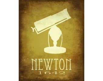 Newton 8x10 Science Art Print,  Isaac Newton Telescope Illustration, Astronomy Poster, Steampunk Rock Star Scientist Office Decor