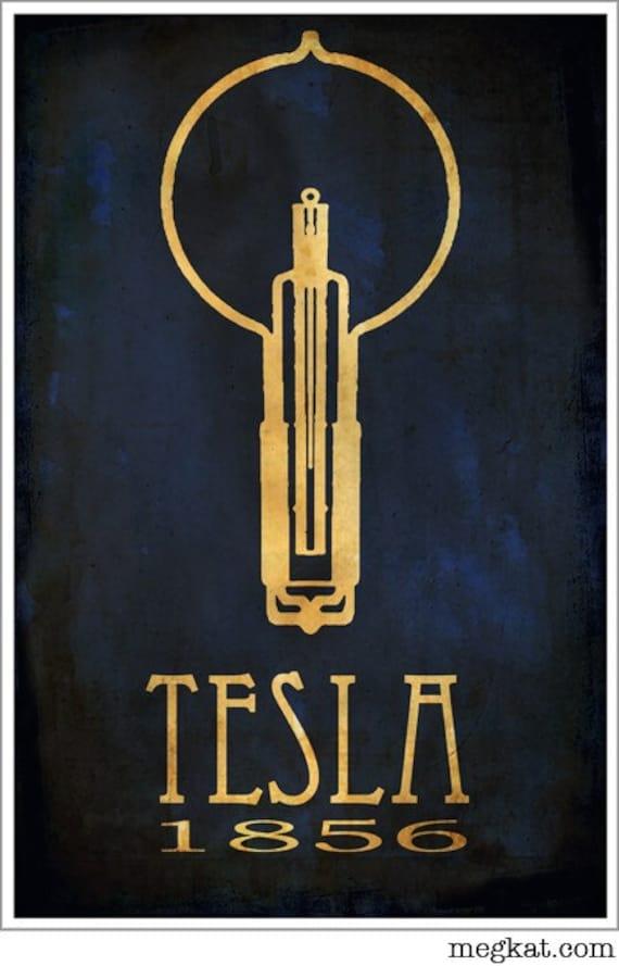 10x15 Nikola Tesla Steampunk Art Print Poster