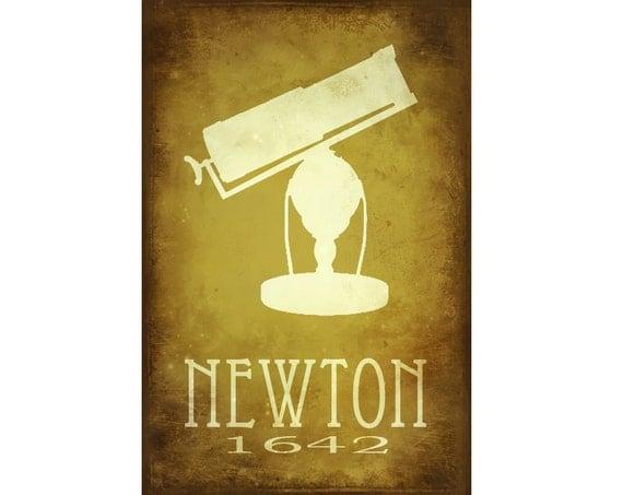 12x18  Isaac Newton Steampunk Rock Star Scientist Poster Fine Art Print