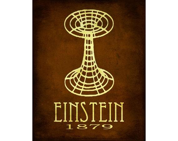 Albert Einstein 11x14 Science Art Print  - Steampunk Relativity Einstein-Rosenbridge Wormhole Illustration