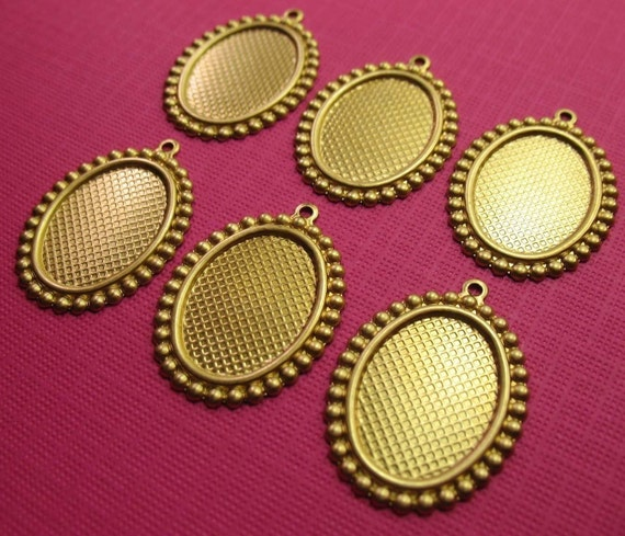 6 Oval Beaded Edge Brass Pendants Setting 18x13mm