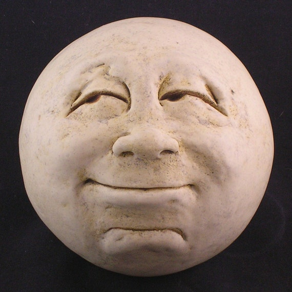 Man In The Moon Garden Head Antique White Eggshell