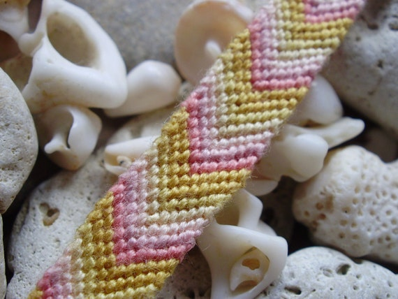 Pink and yellow friendship bracelet