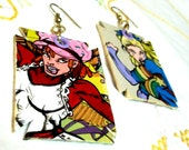 Sexy Rainbow Brite and Strawberry Shortcake comic painted earrings
