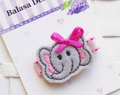 Gray and Pink Elephant Embroidered Felt Hair Clippie