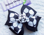 Boutique Soccer Layered Hair Bow
