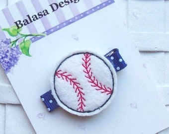 Embroidered Felt Baseball Hair Clippie