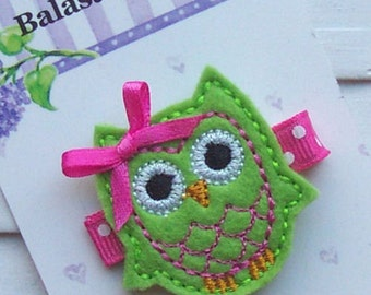 Lime Green Felt Owl Hair Clippie