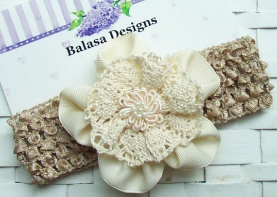 Boutique Ivory Ribbon Flower and Oatmeal Headband