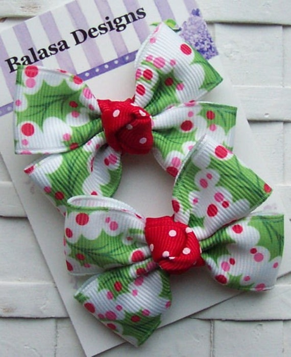 Boutique Red and Green Christmas Holly Bow Pair