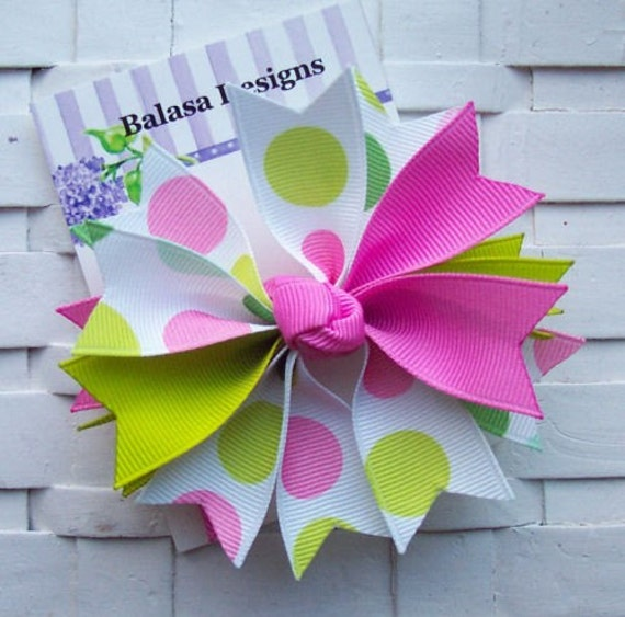 Boutique Spring Jumbo Dots Spike Hair Bow