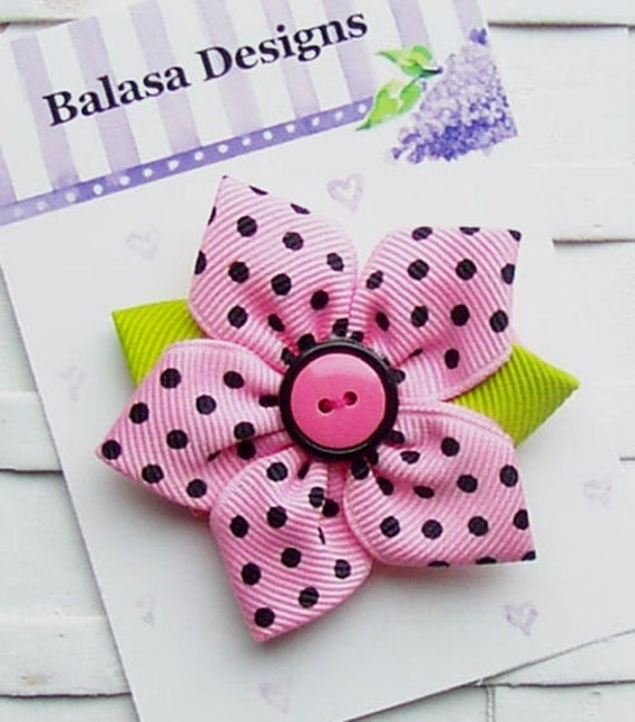 Boutique Pink and Black Dot Star Flower Hair Clip Bow