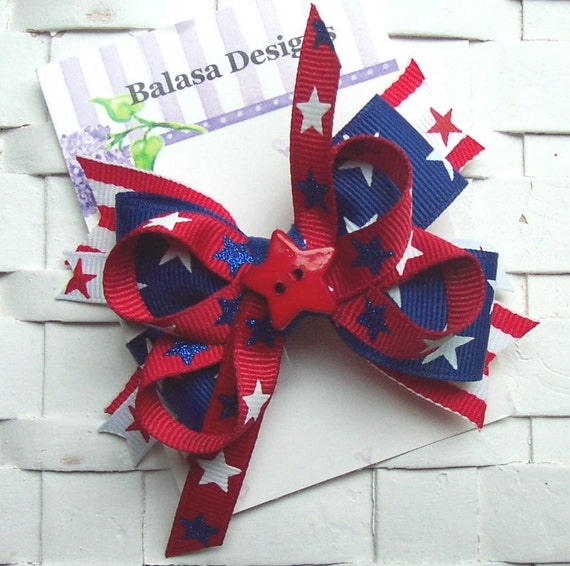 Boutique Red and Blue Stars Patriotic July 4th Hair Bow