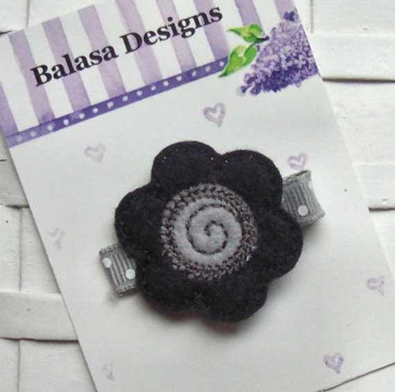 Boutique Black and Silver Embroidered Felt Flower Hair Clippie