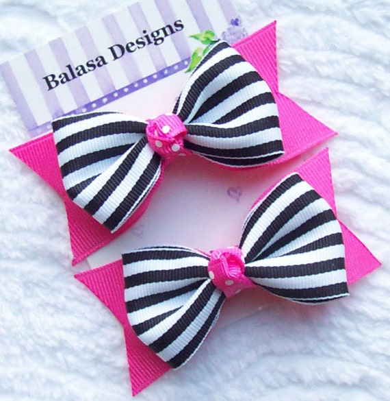Boutique Hot Pink and Black Stripe Hair Bow Pair